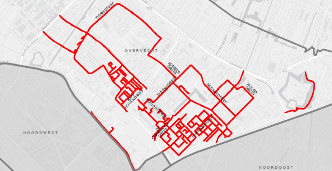 Kaartje met straten die 30km worden